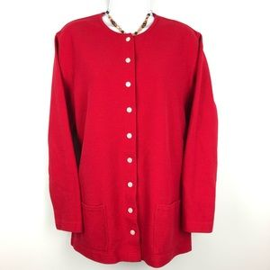 Classic Elements Red Holiday Cardigan Size 16/18W